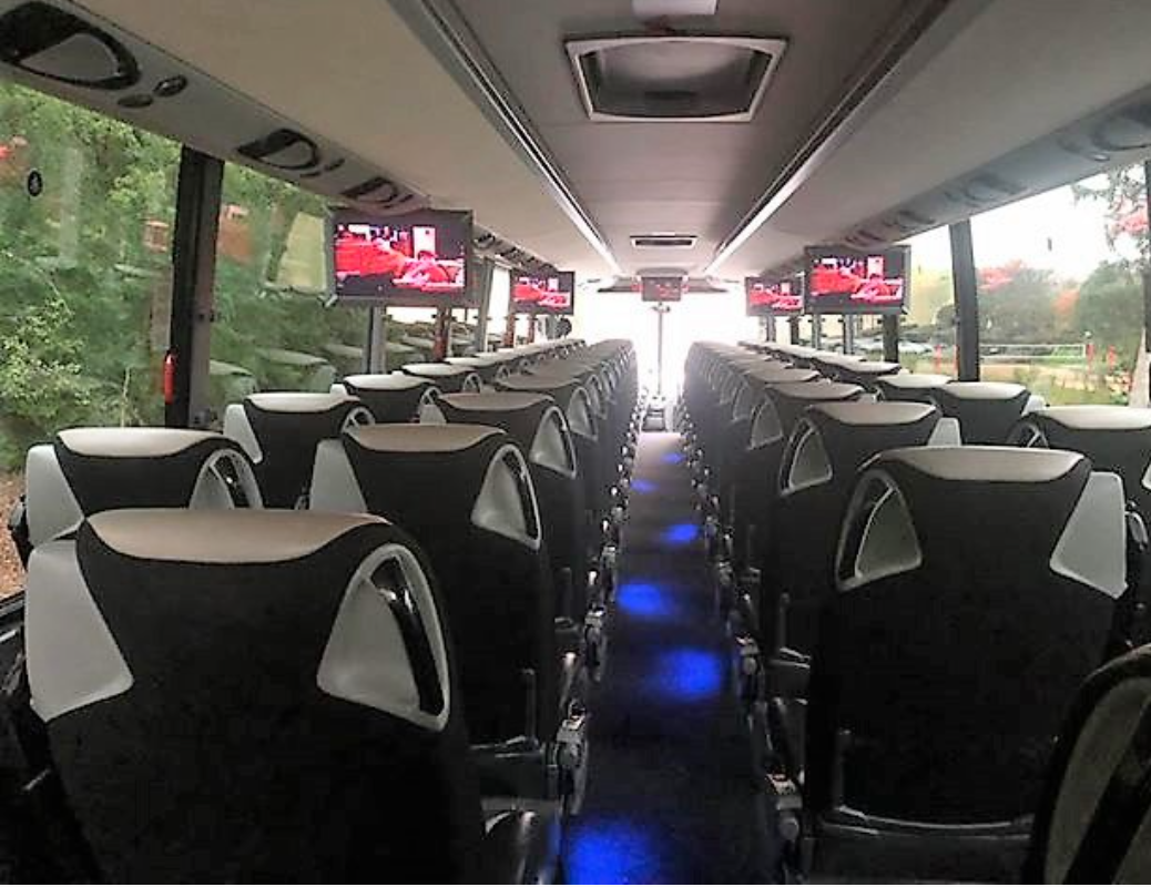 Coach Bus Chicago, Shuttle Bus Chicago, Party Bus Downtown Chicago Loop, Transportation to Chicago, Inside Coach Bus Chicago, Interior Shuttle Bus Chicago, Book, Hire, Rent, Reserve